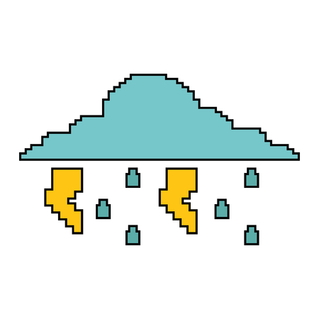 pixelated cloud rain thunderbolt storm weather vector illustration Illustration