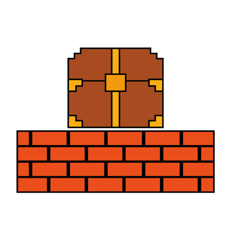 Pixelated video game treasure chest brick wall vector illustration
