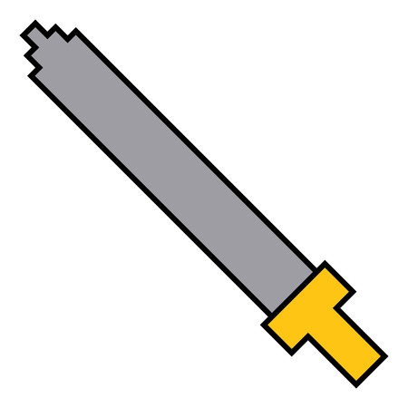pixel sword weapon warrior battle vector illustration Illustration