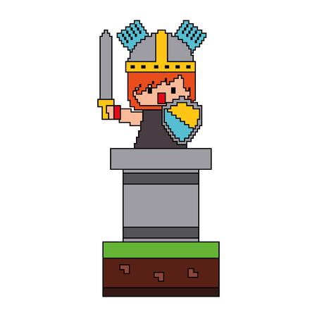 pixel caractère chevalier avec l & # 39 ; épée et le casque jeu vidéo illustration vectorielle