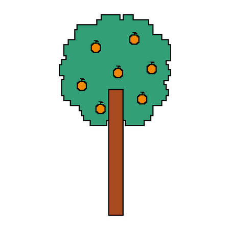 pixelated tree with fruits nature ecology vector illustration