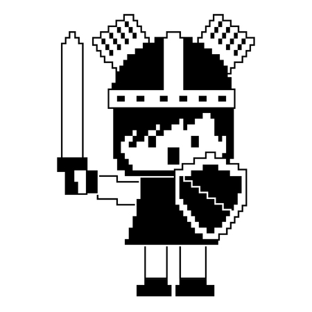 pixel character knight with sword and shield for games vector illustration black design