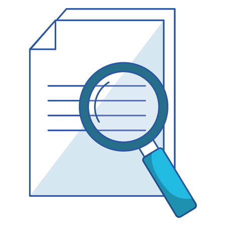 paper document with magnifying glass vector illustration design  イラスト・ベクター素材
