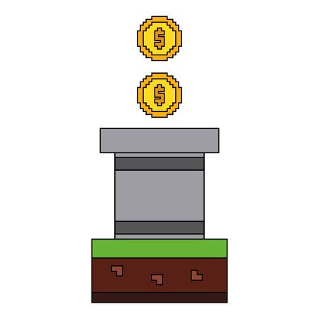 Golden coin treasure score vector illustration