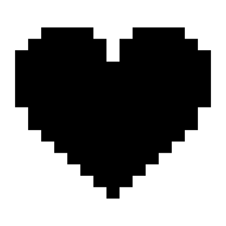 Pixelated heart love romantic icon vector illustration black design