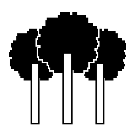 three pixelated tree nature environment icon vector illustration black design