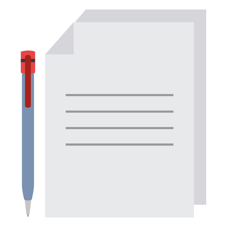 paper document with pen vector illustration design Illustration