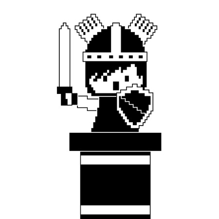 pixel character knight game interface level vector illustration black and white design