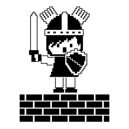 レンガの壁ゲームベクトルイラスト黒と白のデザインでピクセルキャラクター騎士  イラスト・ベクター素材