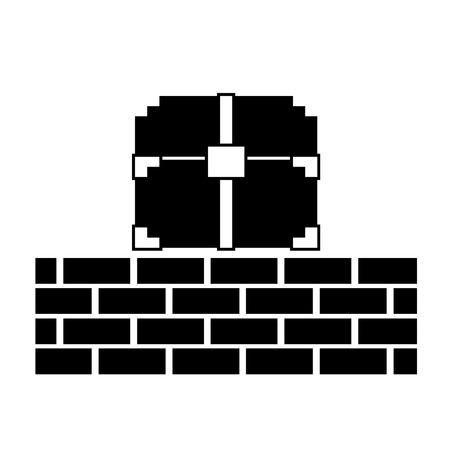 pixelated video game treasure chest brick wall vector illustration black and white design