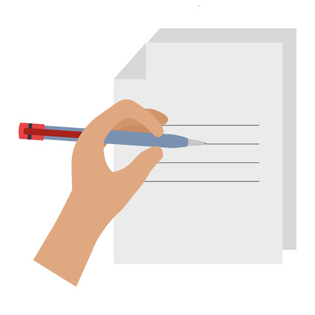 paper document with hand writen vector illustration design Çizim