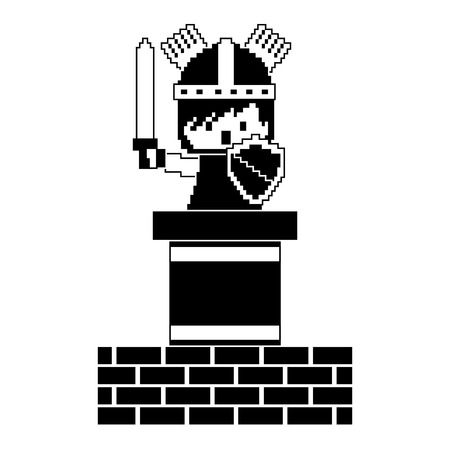 pixel character knight game wall brick vector illustration black and white design