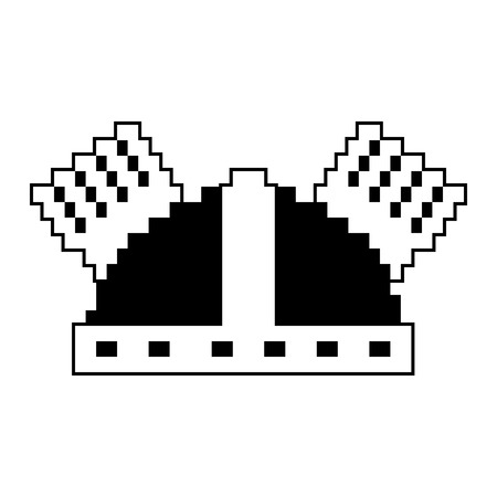 Pixel helmet protection game icon vector illustration black and white design