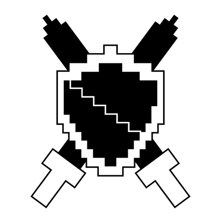 Pixelated shield and swords video game vector illustration black and white design
