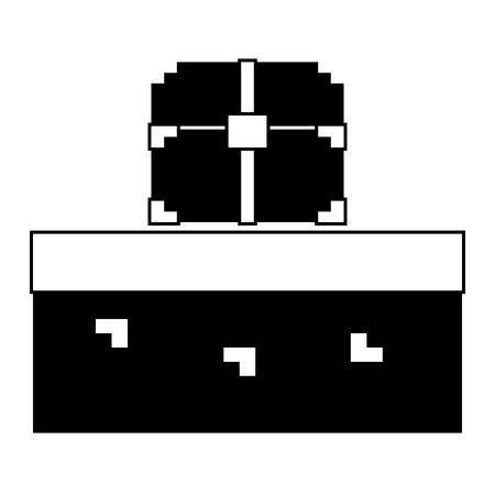 pixelated video game treasure chest vector illustration black and white design
