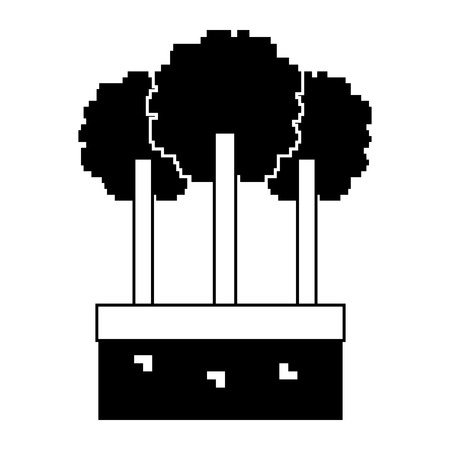 set of pixel tree foliage trunk nature vector illustration black and white design
