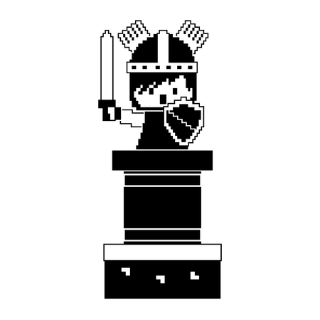 pixel character knight with sword and shield video game vector illustration black and white design