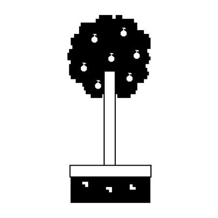 pixelated tree with fruits nature ecology vector illustration black and white design