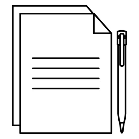 Paper document with pen vector illustration design.