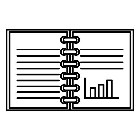 Notaboek met ontwerp van de statistieken het vectorillustratie.