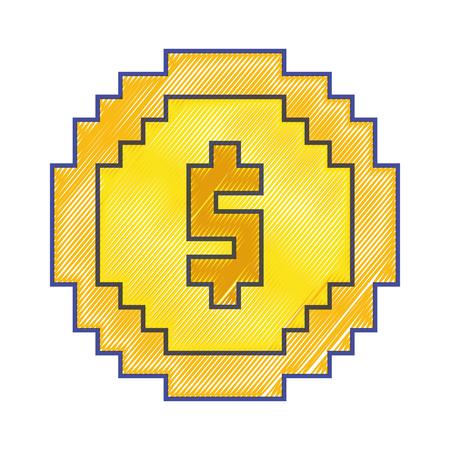 Money coin pixel dollar currency vector illustration Illustration