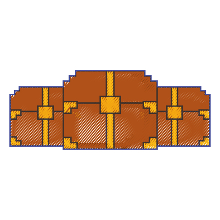 three wooden pixelated chest treasure game vector illustration