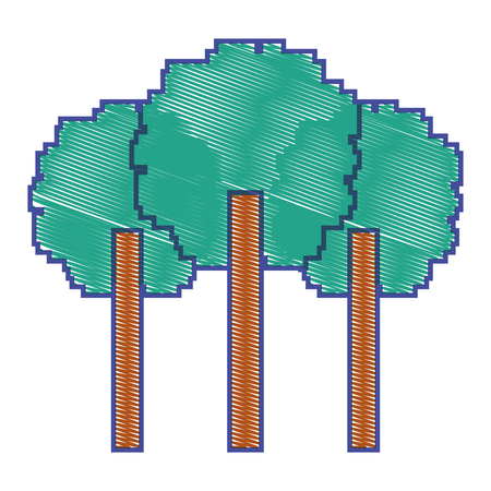 three pixelated tree nature environment icon vector illustration