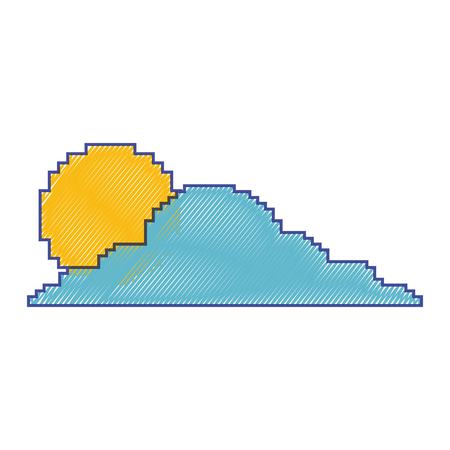 pixelated cloud and sun weather day vector illustration