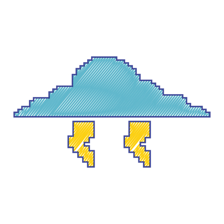 pixelated cloud and thunderbolt weather storm vector illustration