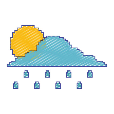 pixelated cloud sun and rain drops climate vector illustration