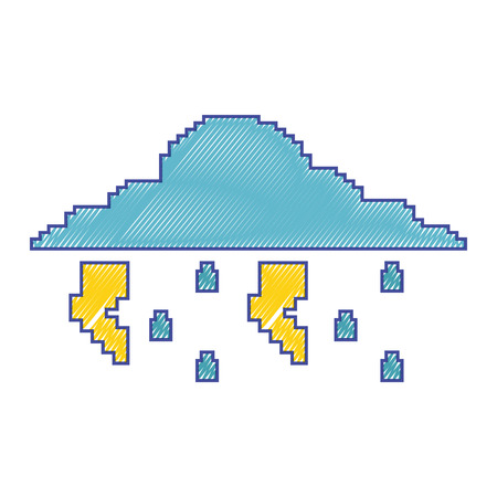 pixelated cloud rain thunderbolt storm weather vector illustration Illustration
