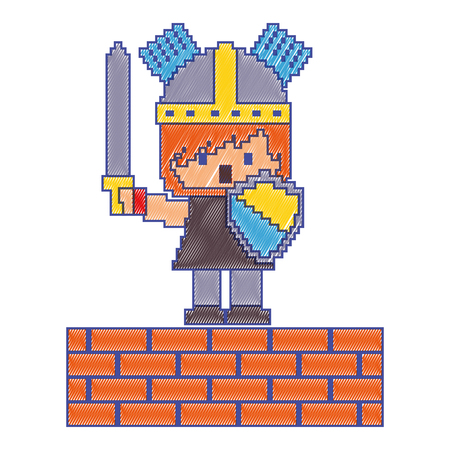 レンガの壁ゲームベクトルイラストを持つピクセルキャラクターナイト