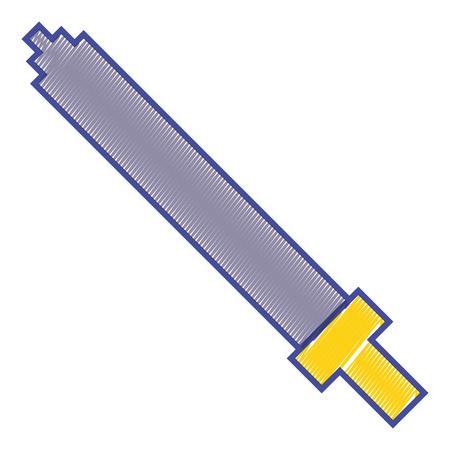 Pixel sword weapon warrior battle vector illustration