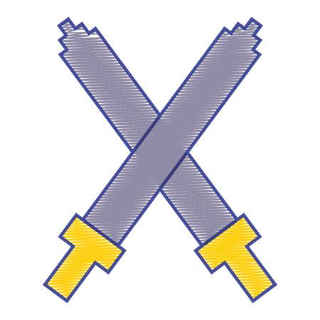 Pixel crossed swords video game interface design vector illustration