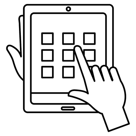 Hands user with tablet and security pattern vector illustration design
