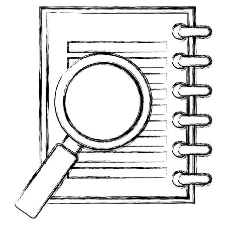 虫眼鏡ベクトルイラストデザインのノートブック