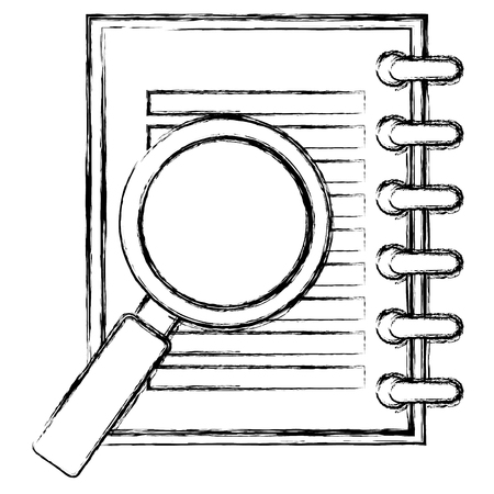 Notebook with magnifying glass vector illustration design Illustration