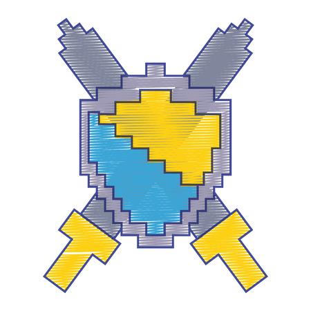 ピクセル化された盾と剣のビデオゲームベクトルイラスト