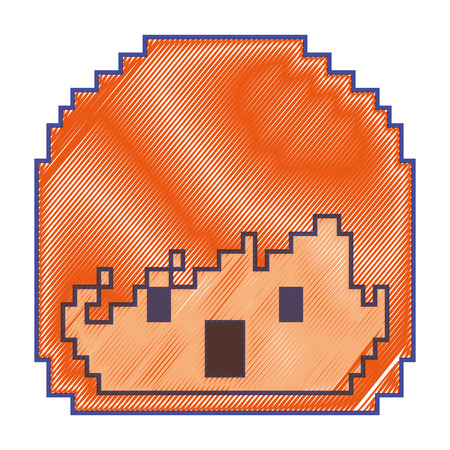 pixelated face boy video game avatar vector illustration Ilustrace