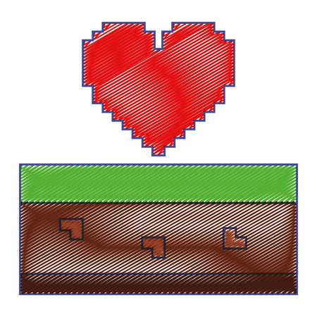 pixelated heart love life game arcade vector illustration