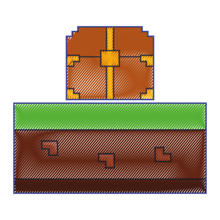 pixelated video game treasure chest vector illustration Illustration