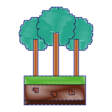 set of pixel tree foliage trunk nature vector illustration  イラスト・ベクター素材