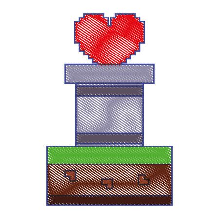 heart love life video game vector illustration Illustration