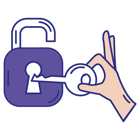 Safe secure padlock with key vector illustration design