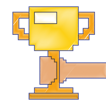 Pixelated hand holding trophy cup game vector illustration.