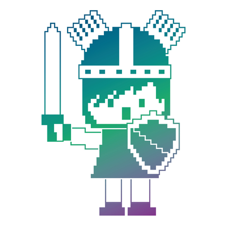 Pixel character knight with sword and shield for games vector illustration.