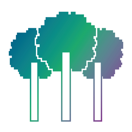 Three pixelated tree nature environment icon vector illustration blur background color gradient
