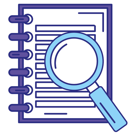 Note book with magnifying glass vector illustration design