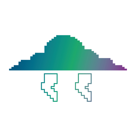 Pixelated cloud and thunderbolt weather storm vector illustration blur background color gradient