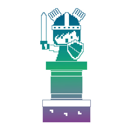 pixel character knight with sword and shield video game vector illustration blur background color gradient